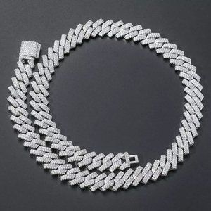 Mens 18k White Gold Plated 14mm Cuban Link Chain